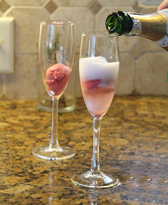 Pour champagne for Sorbet and Champagne Cocktail