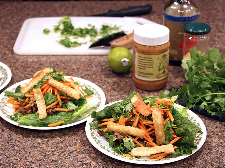 Finishing Thai Beef Salad