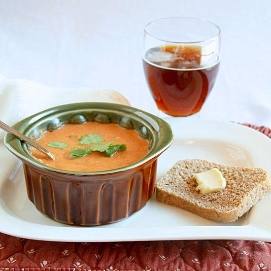 Tomato Stilton Soup with bread