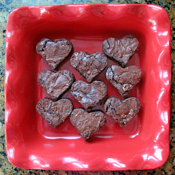 Fudgiest Whole Wheat Brownies cut into hearts