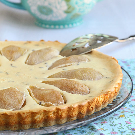 Lavender pear mascarpone tart, ready to serve