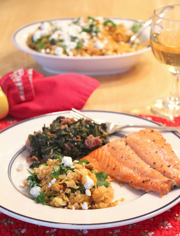 Warm French Lentils with salmon and kale
