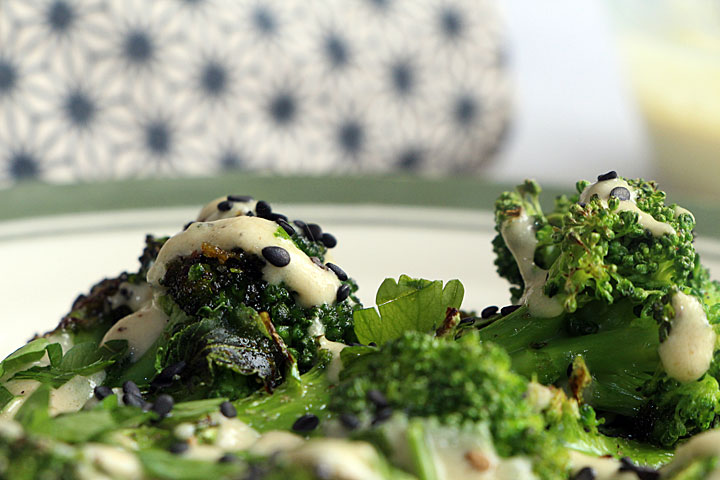 Closeup of Roasted Frozen Broccoli in Tahini Sauce