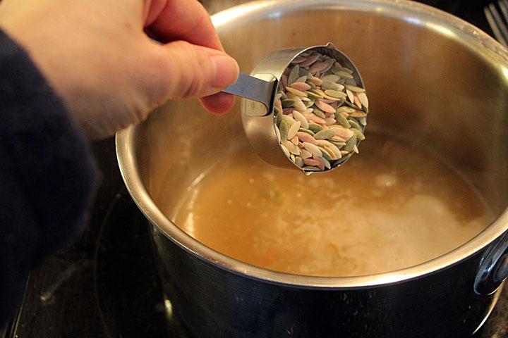 Cook orzo for Egg Lemon Soup