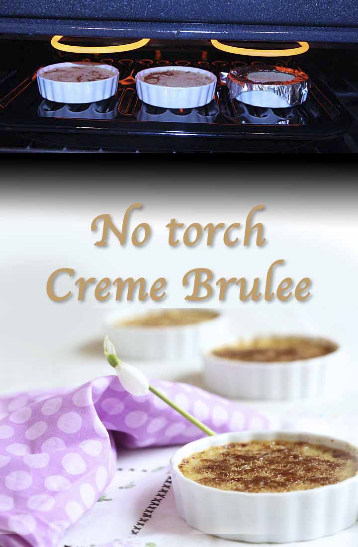 No torch creme brulee is easy and delicious! Here are step by step instructions with pictures for homemade creme brulee, browned under the broiler!