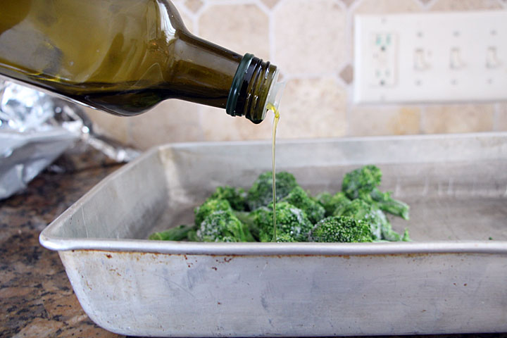 Drizzle broccoli with olive oil before roasting