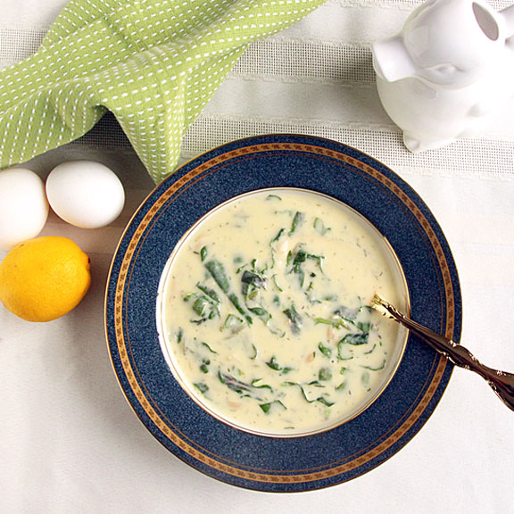 Egg Lemon Soup with spinach from above