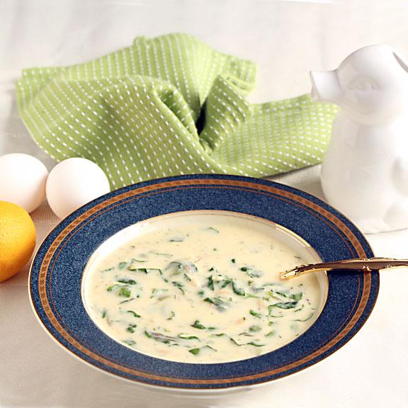 Egg Lemon Soup on table