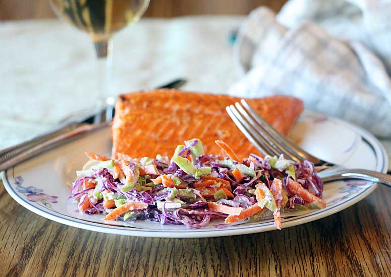 Tricolor Coleslaw with Olive Oil Dressing