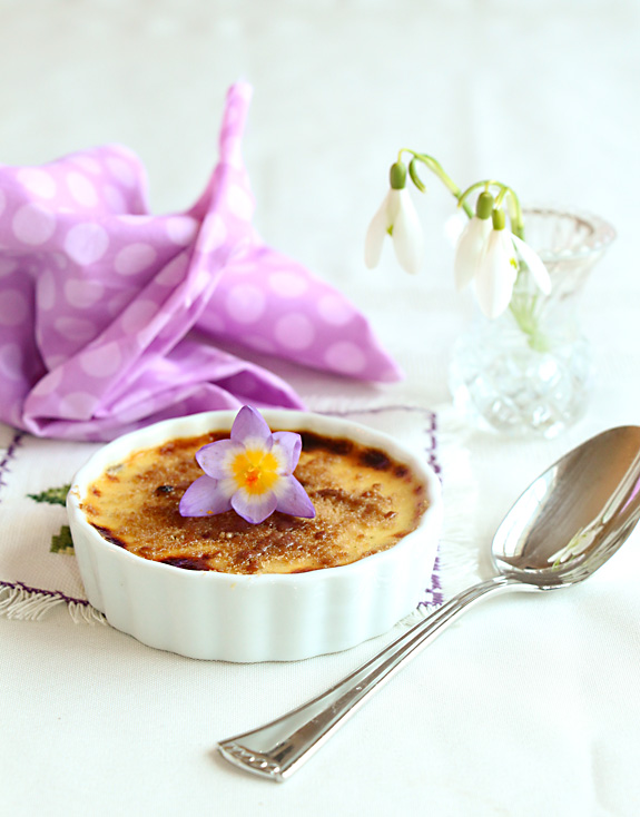 Lavender Creme Brulee on table