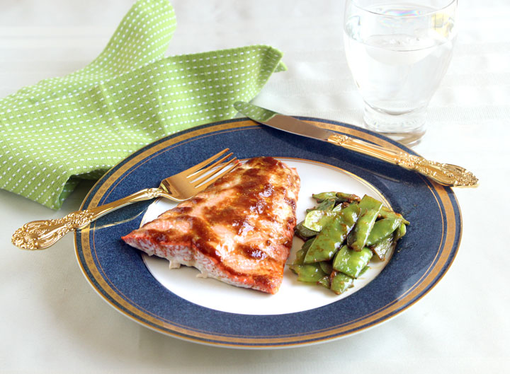 Miso Glazed Salmon and Snow Peas