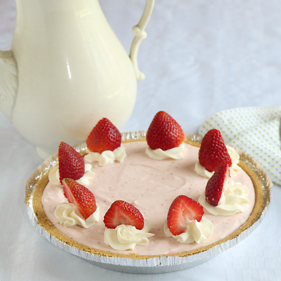 Decorated Whipped Strawberry Pie