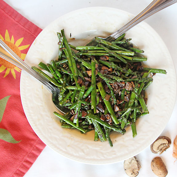 Asparagus & Mushrooms, from above