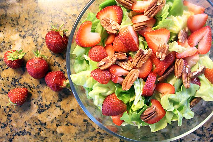 Ingredients for Butter Lettuce Strawberry Salad