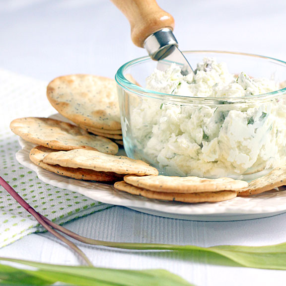 Wild Ramp Goat Cheese Spread with crackers