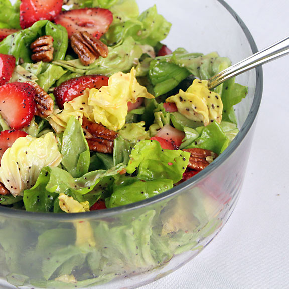 Butter Lettuce Strawberry Salad in bowl