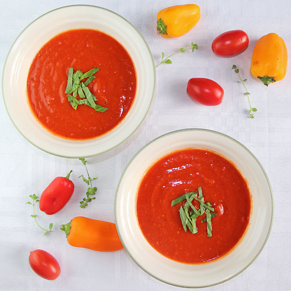 Roasted Tomato Red Pepper Soup from above
