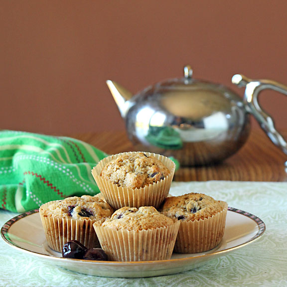 Chocolate Covered Cherry Muffins with tea