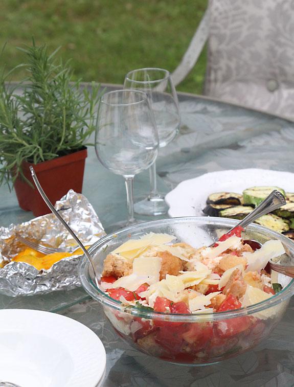 Grilled Vegetable, Bread & Tomato Salad (Panzanella) Served