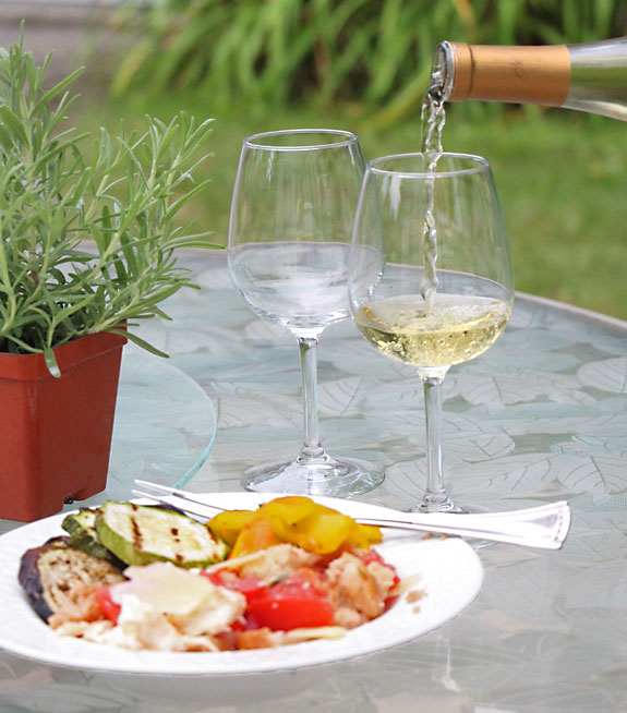 Grilled Vegetable, Bread & Tomato Salad (Panzanella) with wine with wine