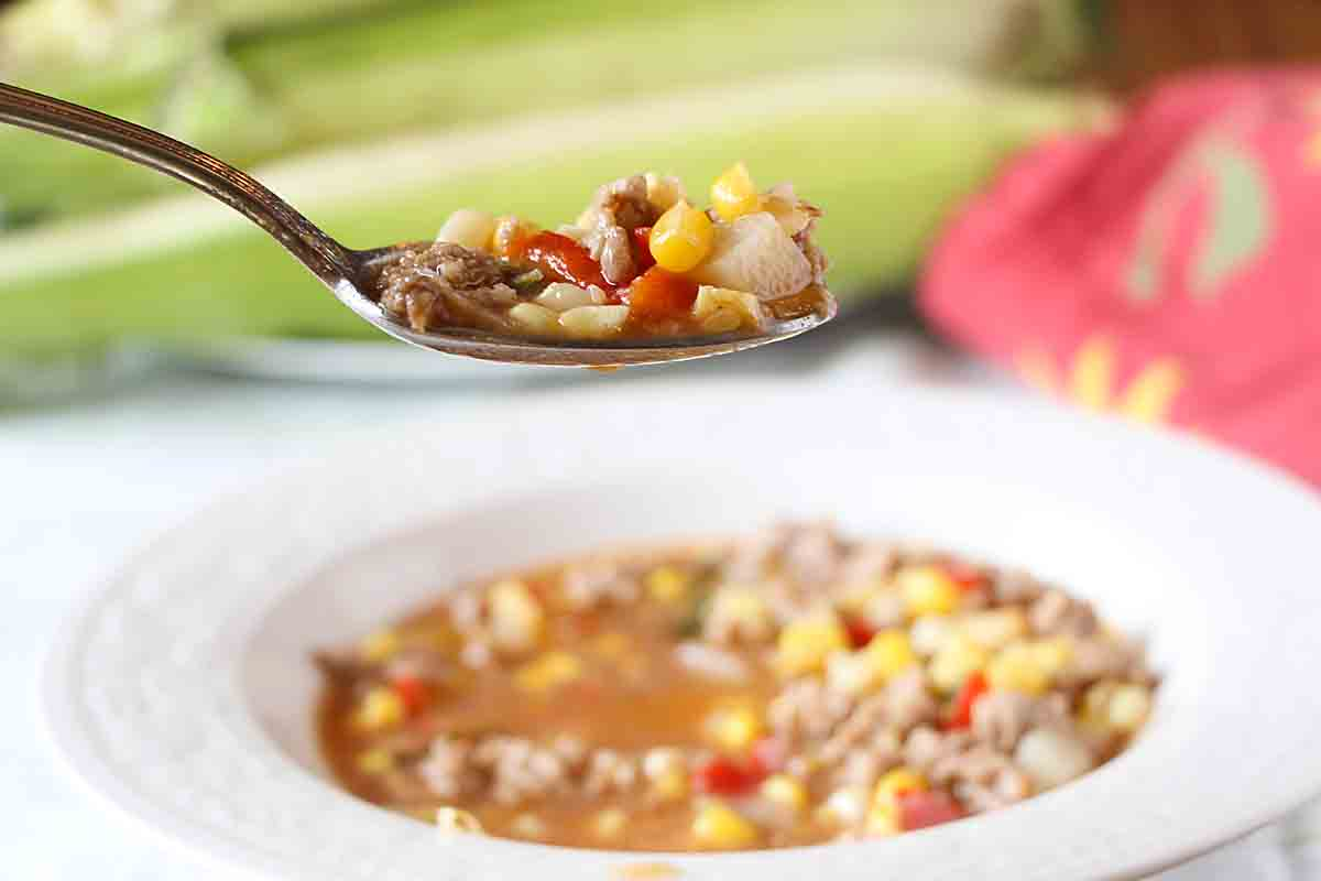 With BBQ sauce, pork, corn & more, Iowa BBQ Soup is loaded with summer flavor. Perfect for tailgate parties, picnics or even a complete meal.