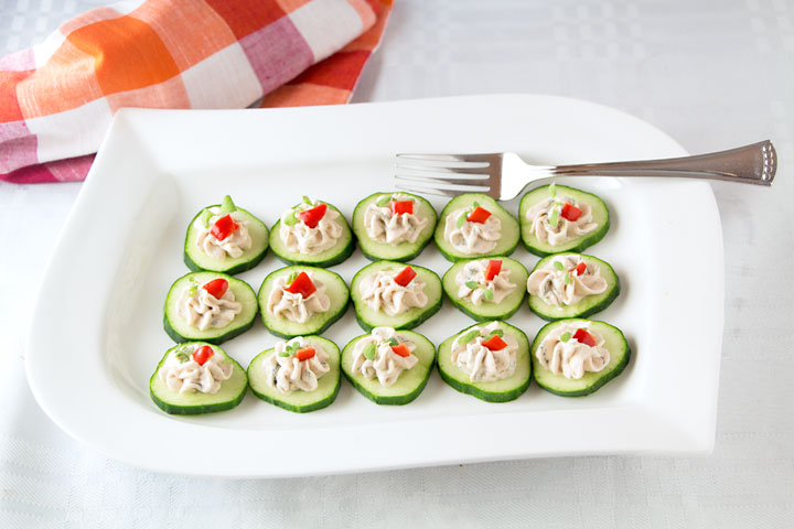 Salmon Mousse on Cucumber Slices