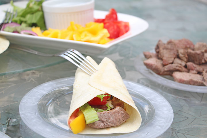 Steak, Blue Cheese, Veggie Wraps