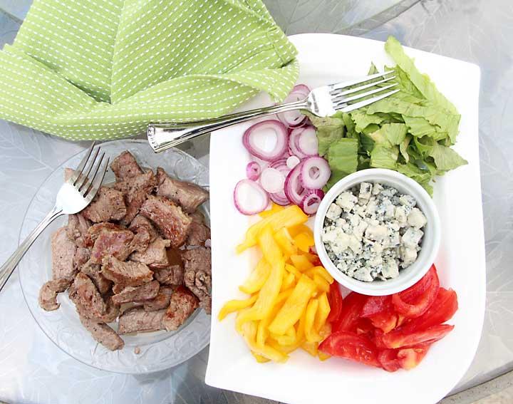 Steak, Blue Cheese, Veggie Wraps