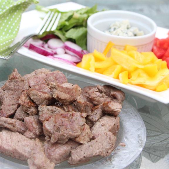 Steak, Blue Cheese, Veggie Wraps served