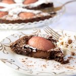 Drunken Chocolate Pear Tart on table