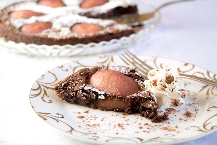 Drunken Chocolate Pear Tart