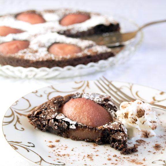 Drunken Chocolate Pear Tart served