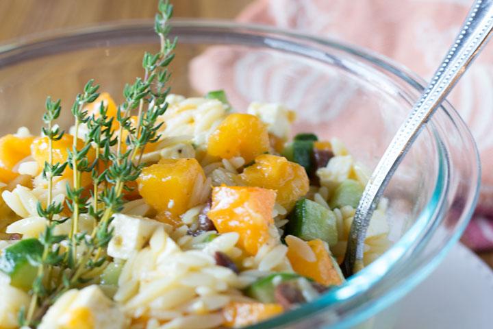 Greek Pasta Salad Closeup