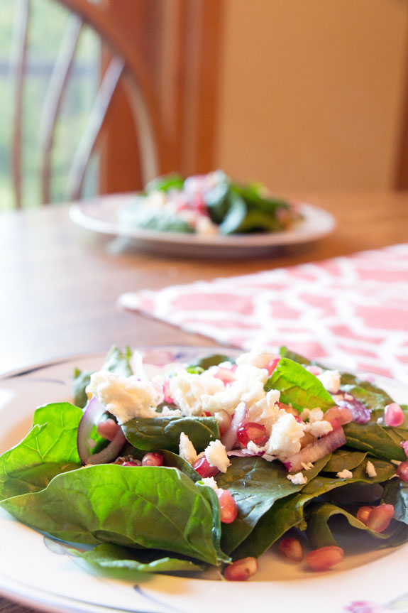 Serving Spinach Pear Pomegranate Salad