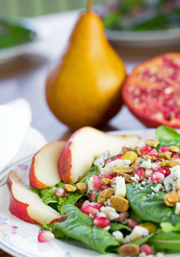 Spinach Pear Pomegranate Salad Closeup
