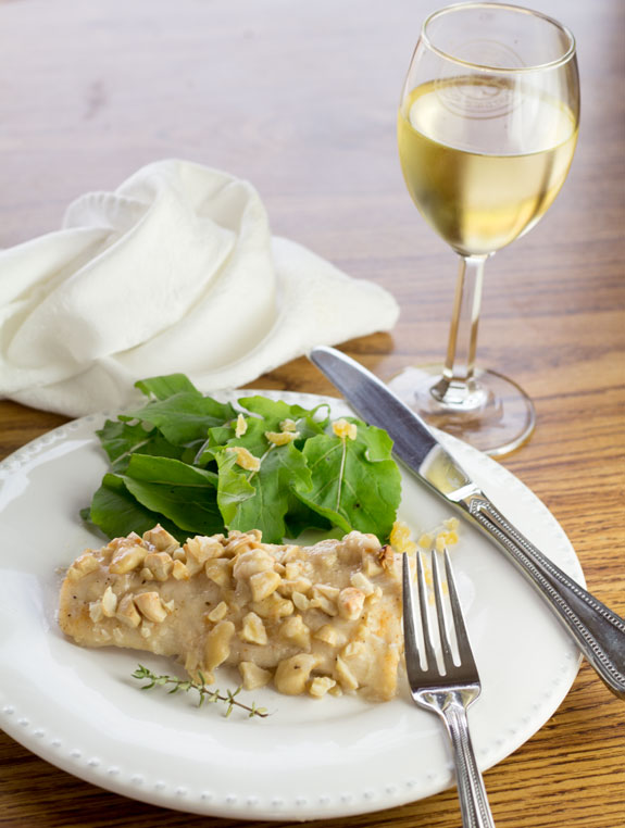 Cashew Crusted Mahi Mahi with wine