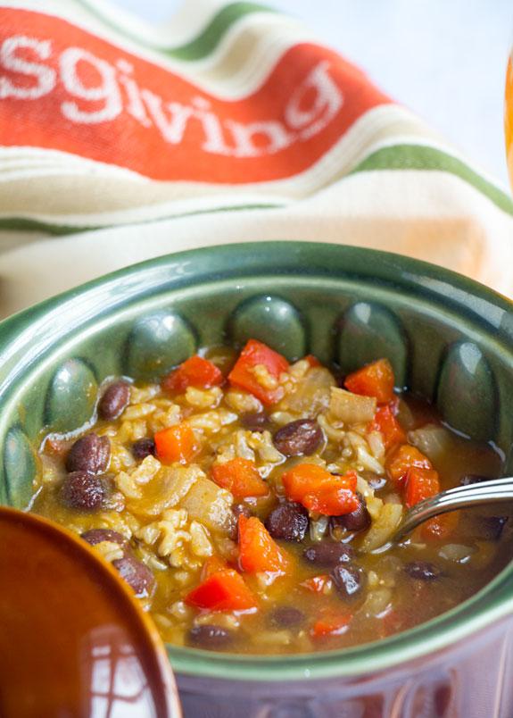 Southwest Pumpkin Black Bean Soup closeup