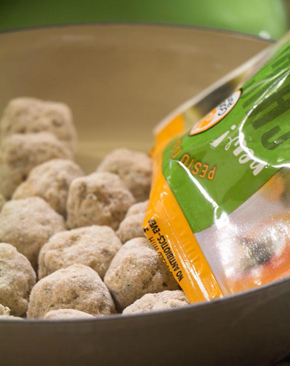Pour meatballs for Meatball & Mozzarella Appetizer