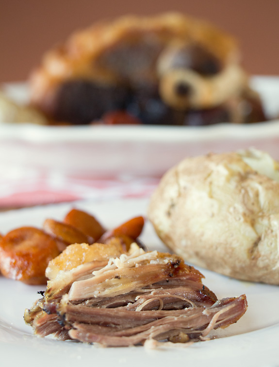 Slow but easy dinner: Pork Shoulder Roast with baked potato and carrots