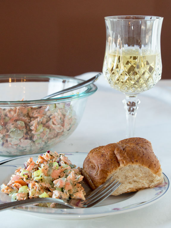 Salmon Salad in an olive oil based dressing! A fresh twist on broiled salmon!