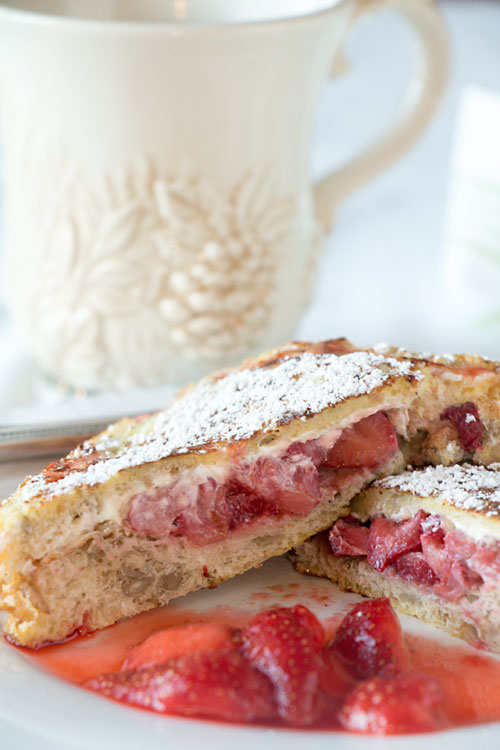 Strawberry Stuffed French Toast--Custardy bread filled with cream cheese and berries. Easy, tasty, and healthier than plain French toast