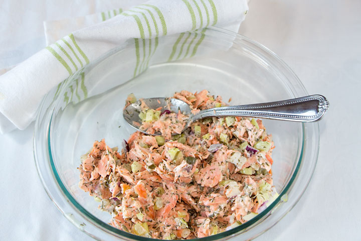 Delicious Salmon Salad--loaded with Omega-3, Olive Oil Based Dressing too!!