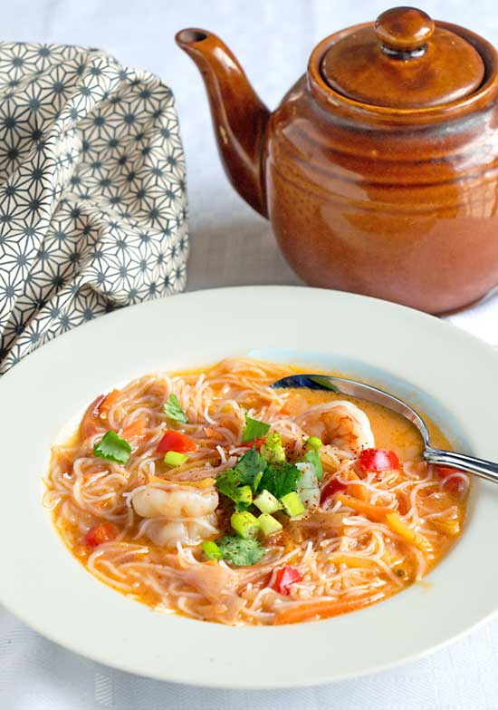 "Thai Shrimp Soup - Curry, Coconut, Shrimp, Carrot ""Noodles"""