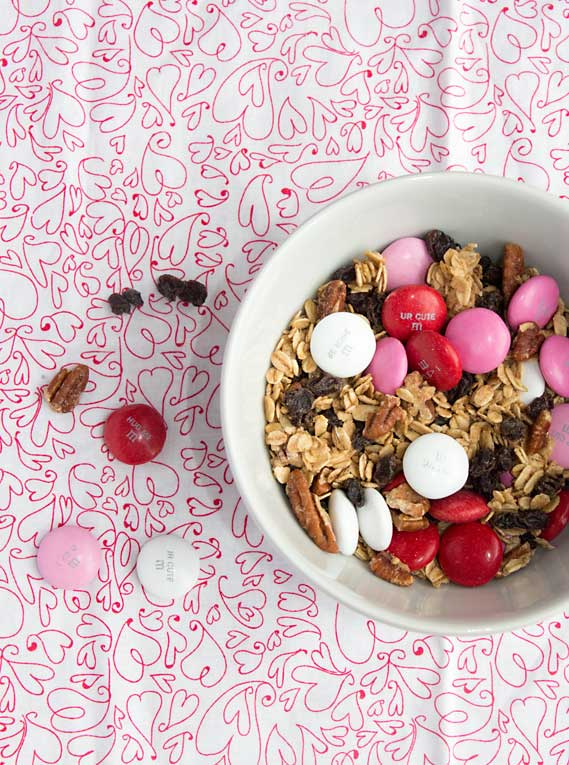 Avoid a holiday candy coma-try some trail mix made with granola, nuts, dried fruit & holiday M&Ms. Great for Valentines Day Trail Mix or for any holiday!