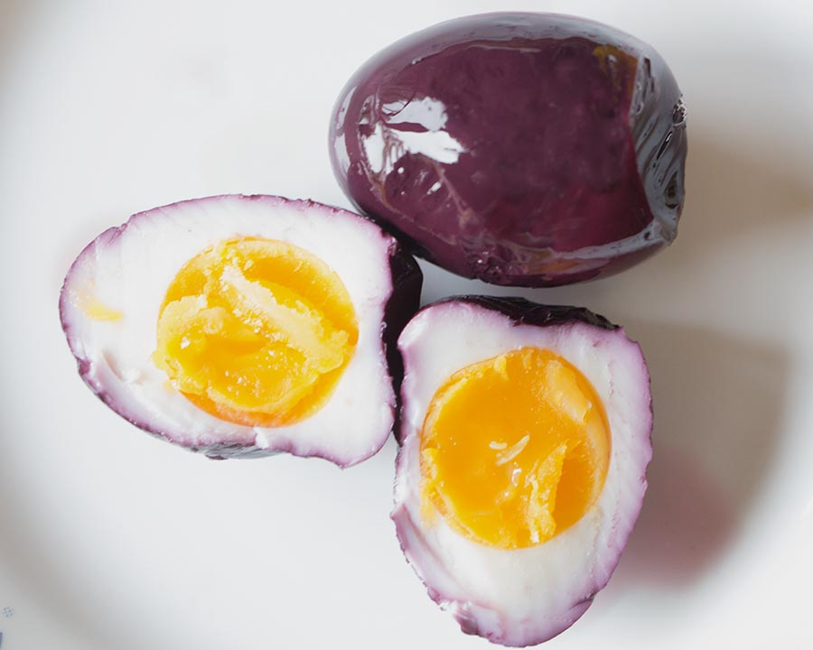 Multicolor pickled eggs are a fun twist on hard-boiled. Done in pink, purple and yellow they