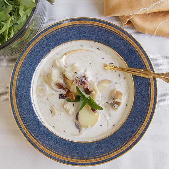 This rich fish chowder makes a delicious entree or starter soup. With simple ingredients & full flavor, it is perfect for everyday or special occasions.