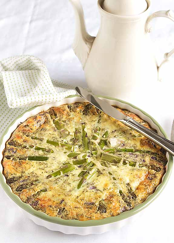 Smoked salmon asparagus quiche makes a tasty, easy meal. Perfect for a nice spring breakfast or brunch--or with salad as a light dinner.