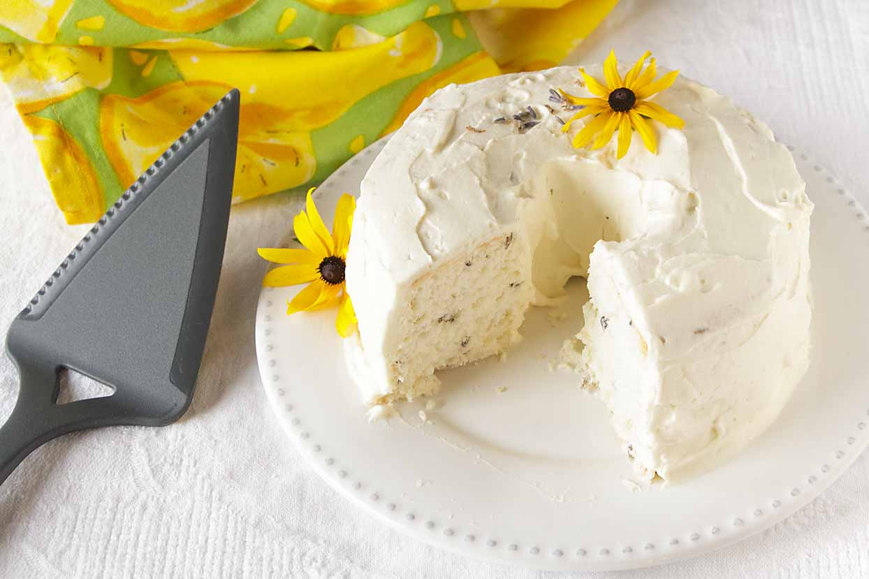 Sweet and light, lavender vanilla angel food cake brings together warm vanilla and subtle lavender flavors--and isn't difficult at all.