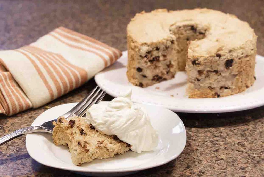 Rich, airy and flavorful, this surprisingly easy Coffee Chocolate Chip Angel Food Cake brings together warm coffee flavor with a bright chocolate accent.