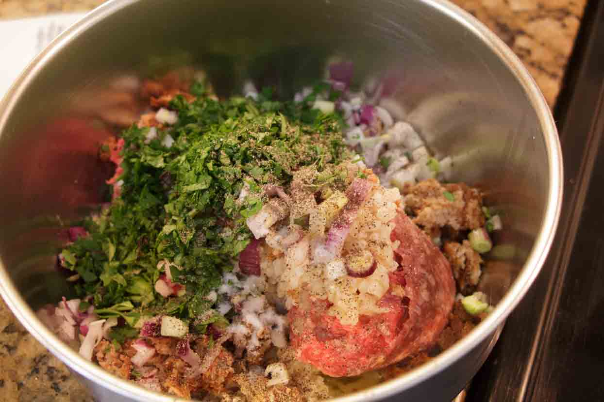 Mix meatball ingredients